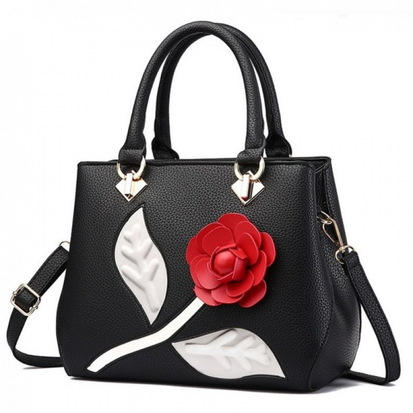 Geanta Dama  Red Flower Black Colour GD656