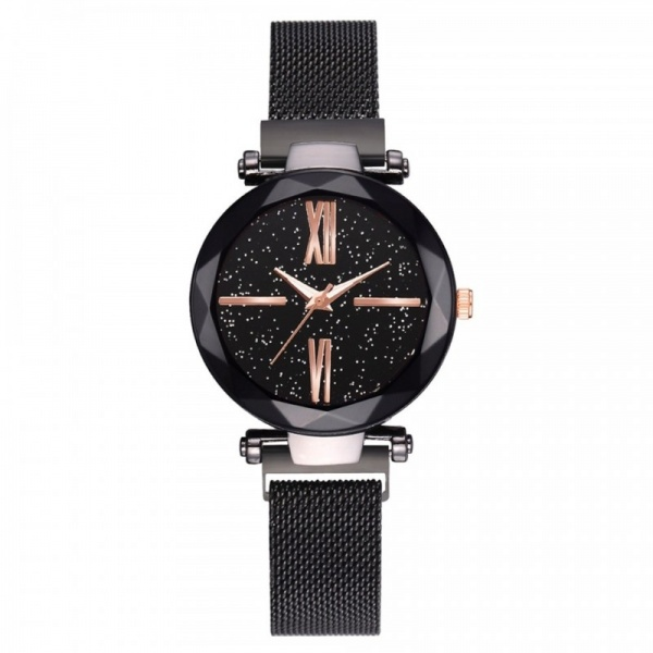 Ceas Lux07 Luxary Diamond Roman Black